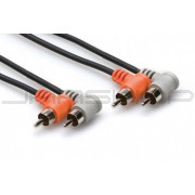 Hosa CRA-201RR Stereo Interconnect, Dual Right-angle RCA to Same, 1 m