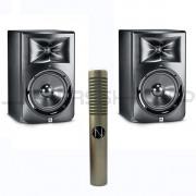 JBL LSR308 Monitors (Pair) + NOS Panther MK 2 Ribbon Mic Combo
