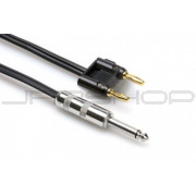 Hosa SKZ-620BN Speaker Cable 1/4 in TS to Dual Banana, Black Zip, 20 ft