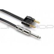 Hosa SKZ-6100BN Speaker Cable 1/4 in TS to Dual Banana, Black Zip, 100 ft